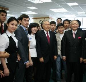 President Nazarbayev with students