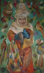 woman with peacock