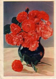 flowers in black pot