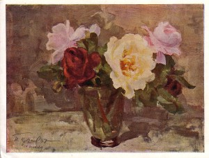 four roses in vase