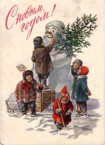 happy children and snowman