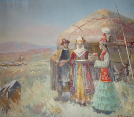 Kazakh women by yurt