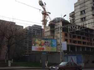 billboard and crane