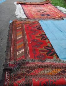 carpets inside yurt