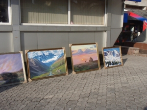 masterpieces on sidewalk
