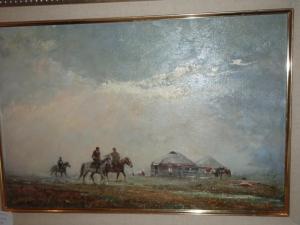 yurt and horses